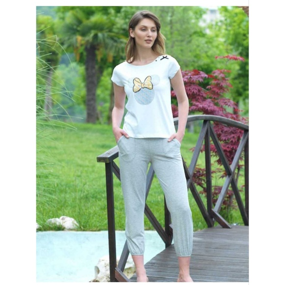 Mel Bee Other - Mickey Bow Sleeve Pajama/ Lounge set